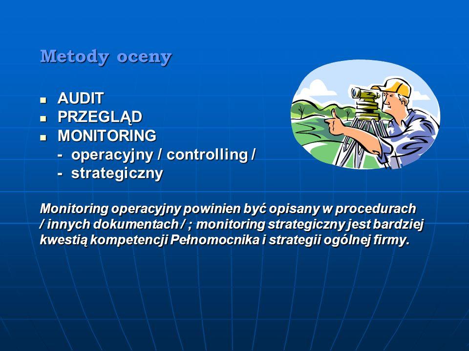 Metody oceny AUDIT PRZEGLĄD MONITORING - operacyjny / controlling /