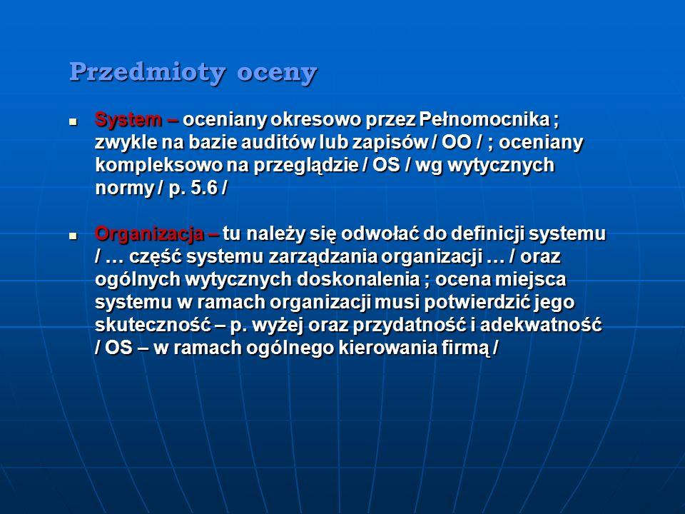 Przedmioty oceny System – oceniany okresowo przez Pełnomocnika ;