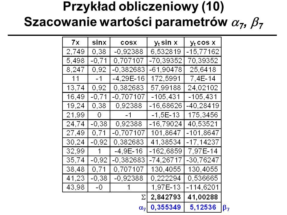 Przykład obliczeniowy (10) Szacowanie wartości parametrów a7, b7