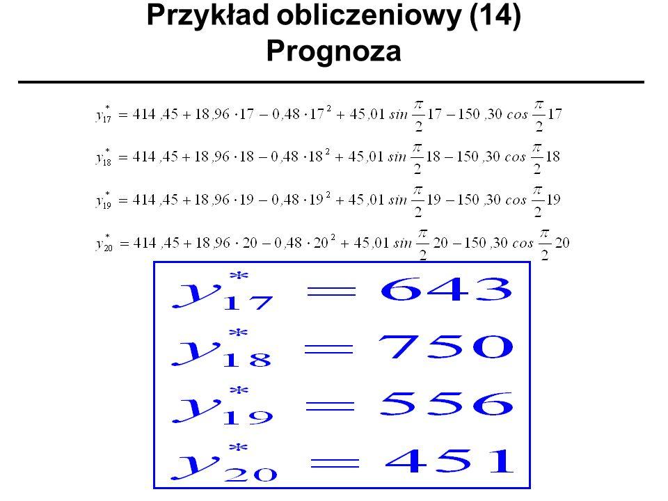 Przykład obliczeniowy (14) Prognoza