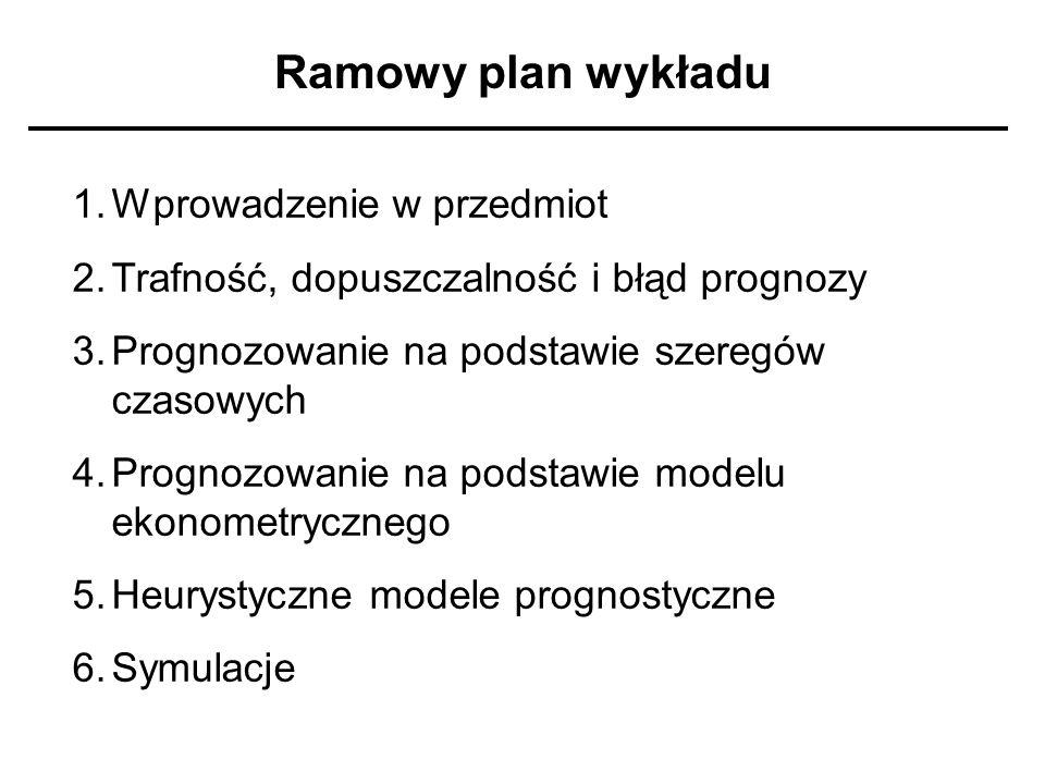 Ramowy plan wykładu Wprowadzenie w przedmiot