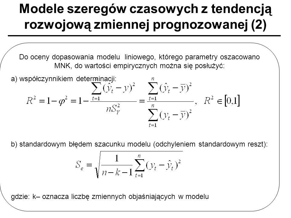 Modele szeregów czasowych z tendencją rozwojową zmiennej prognozowanej (2)