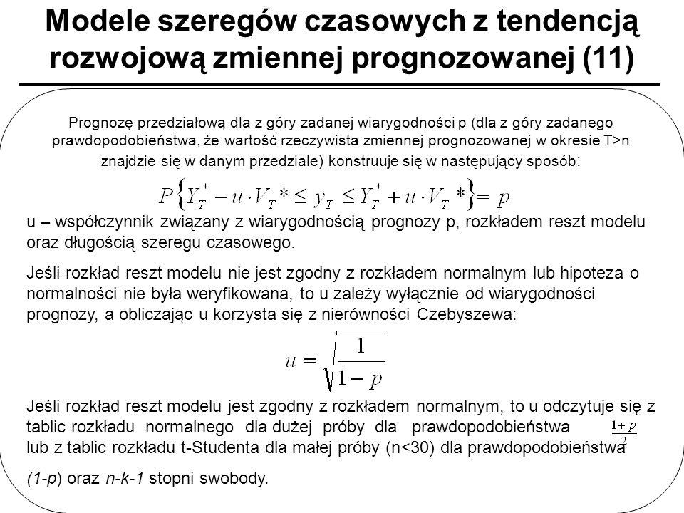 Modele szeregów czasowych z tendencją rozwojową zmiennej prognozowanej (11)