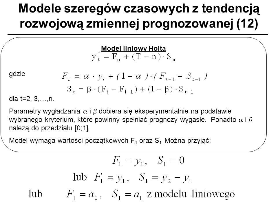 Modele szeregów czasowych z tendencją rozwojową zmiennej prognozowanej (12)