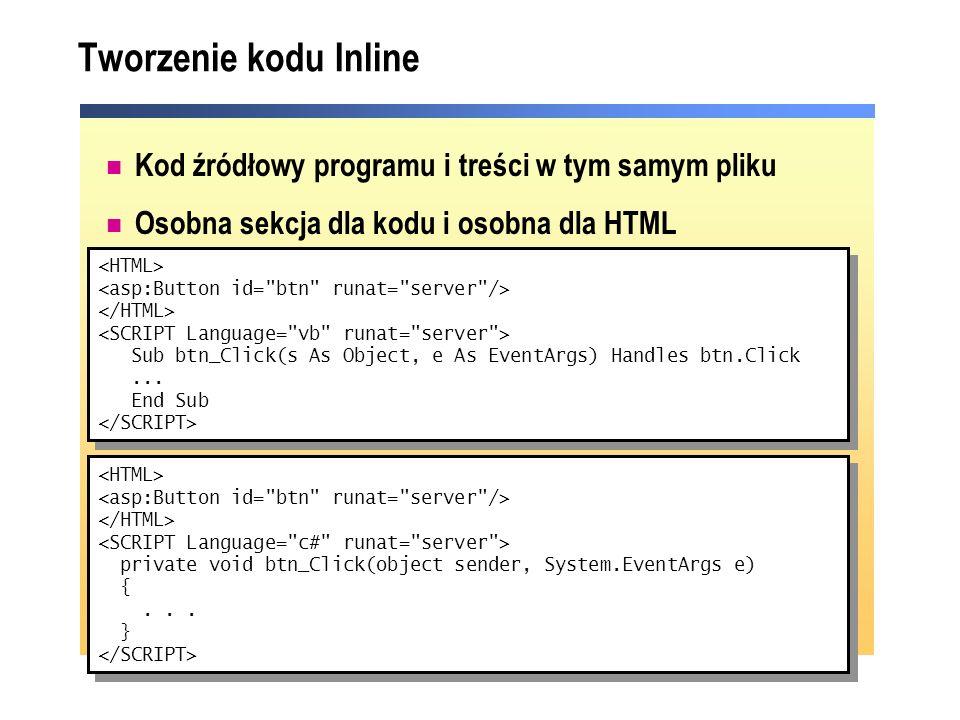 Tworzenie kodu Inline Kod źródłowy programu i treści w tym samym pliku