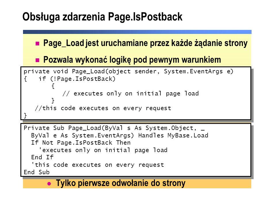 Obsługa zdarzenia Page.IsPostback