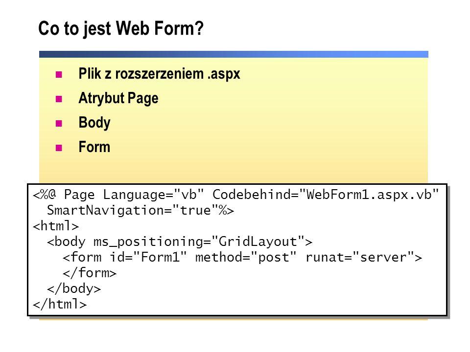 Co to jest Web Form Plik z rozszerzeniem .aspx Atrybut Page Body Form