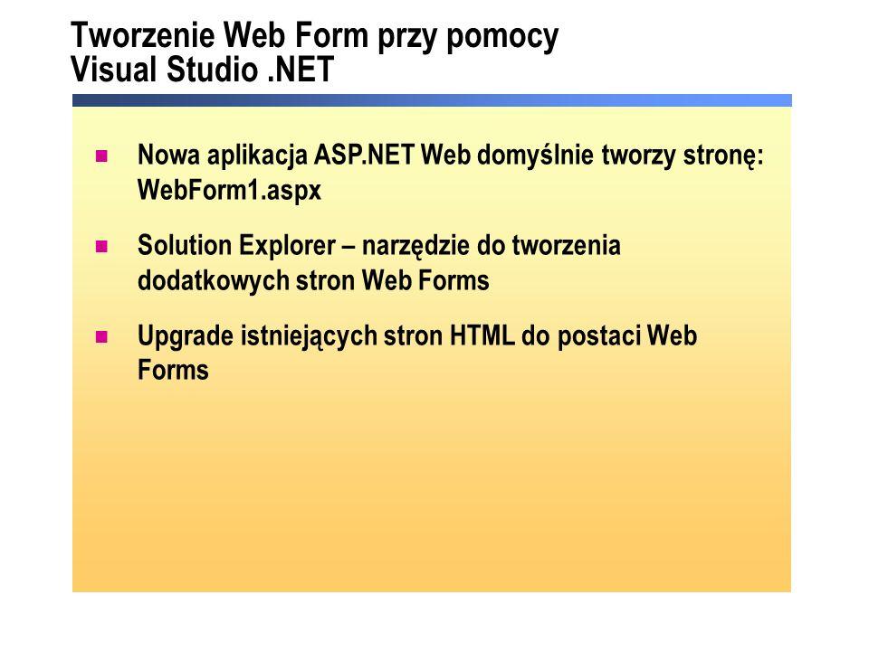 Tworzenie Web Form przy pomocy Visual Studio .NET
