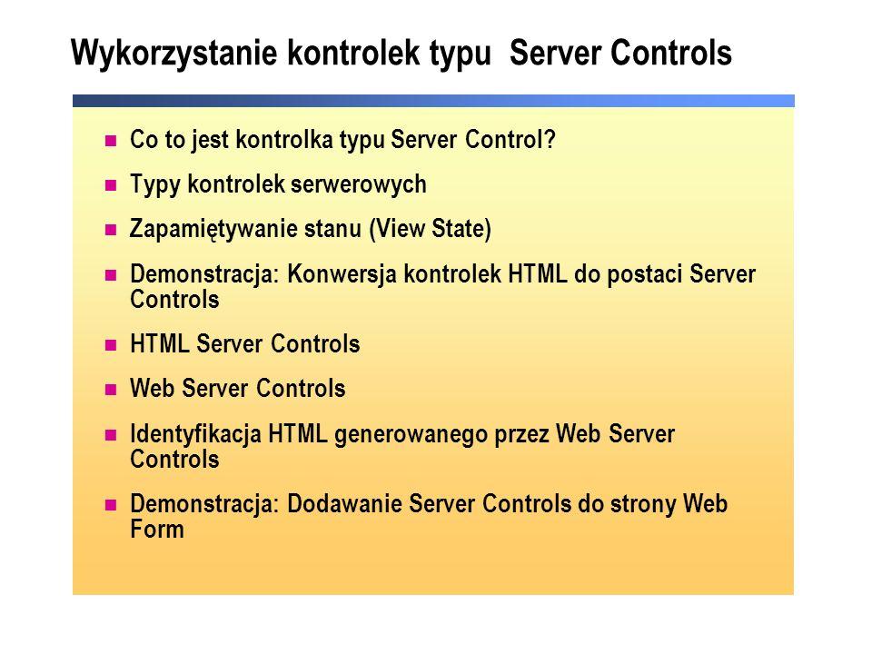 Wykorzystanie kontrolek typu Server Controls