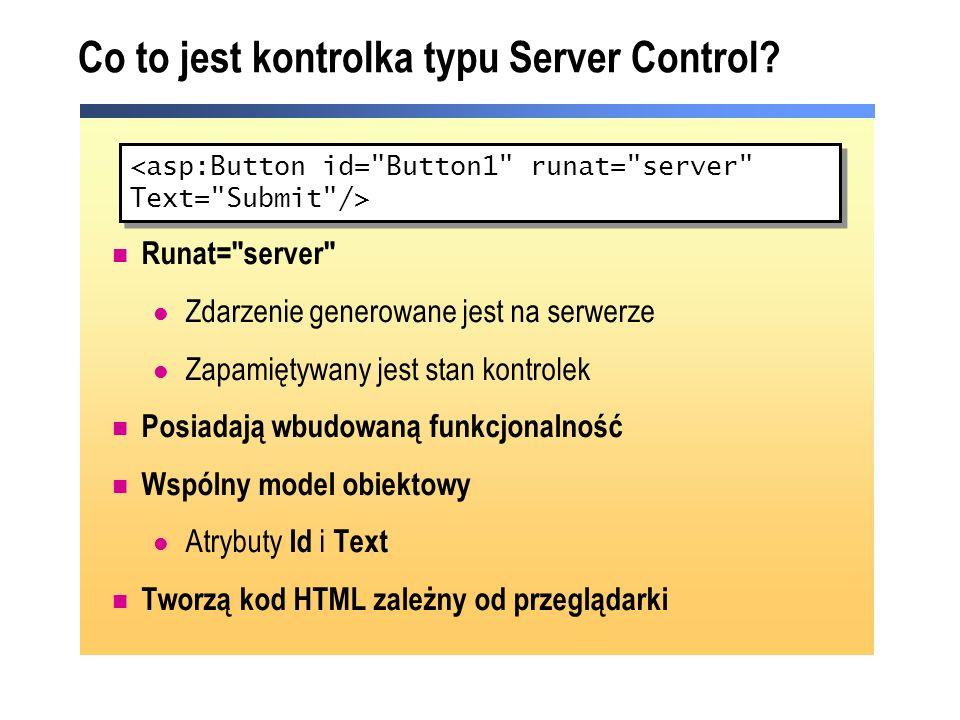 Co to jest kontrolka typu Server Control