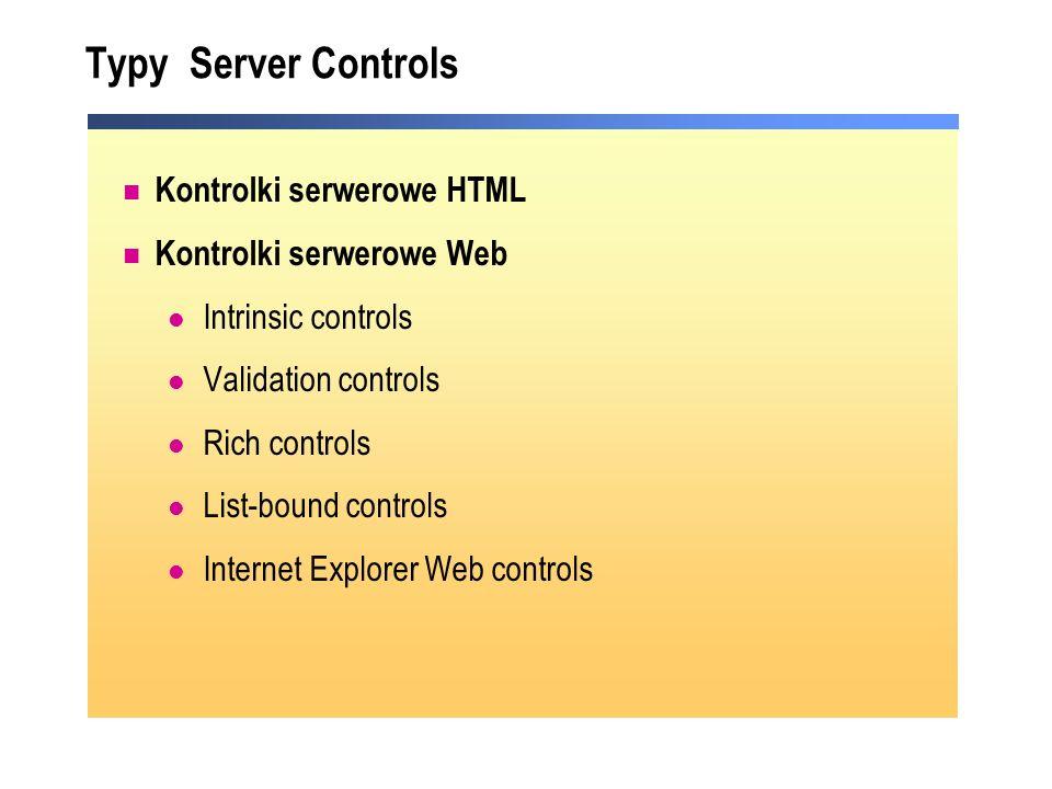 Typy Server Controls Kontrolki serwerowe HTML Kontrolki serwerowe Web