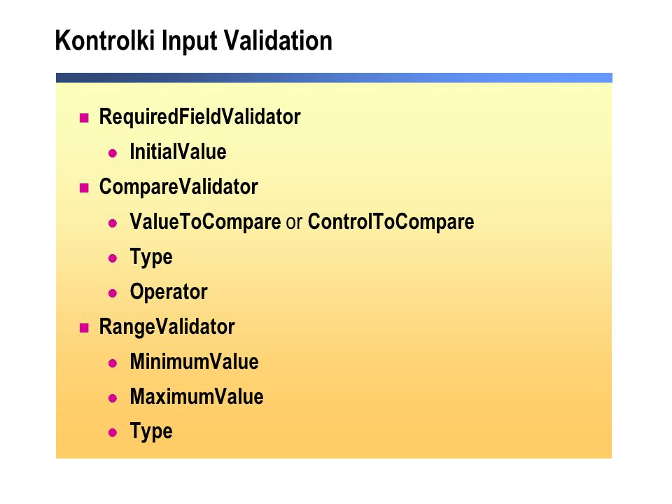 Kontrolki Input Validation
