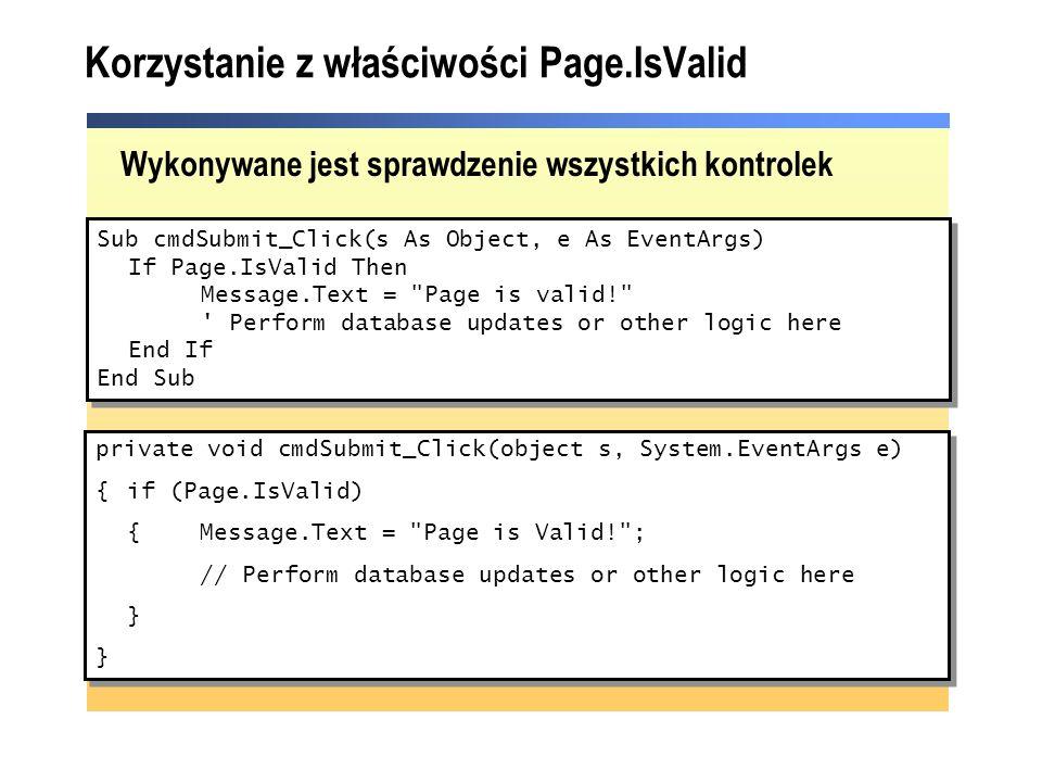 Korzystanie z właściwości Page.IsValid
