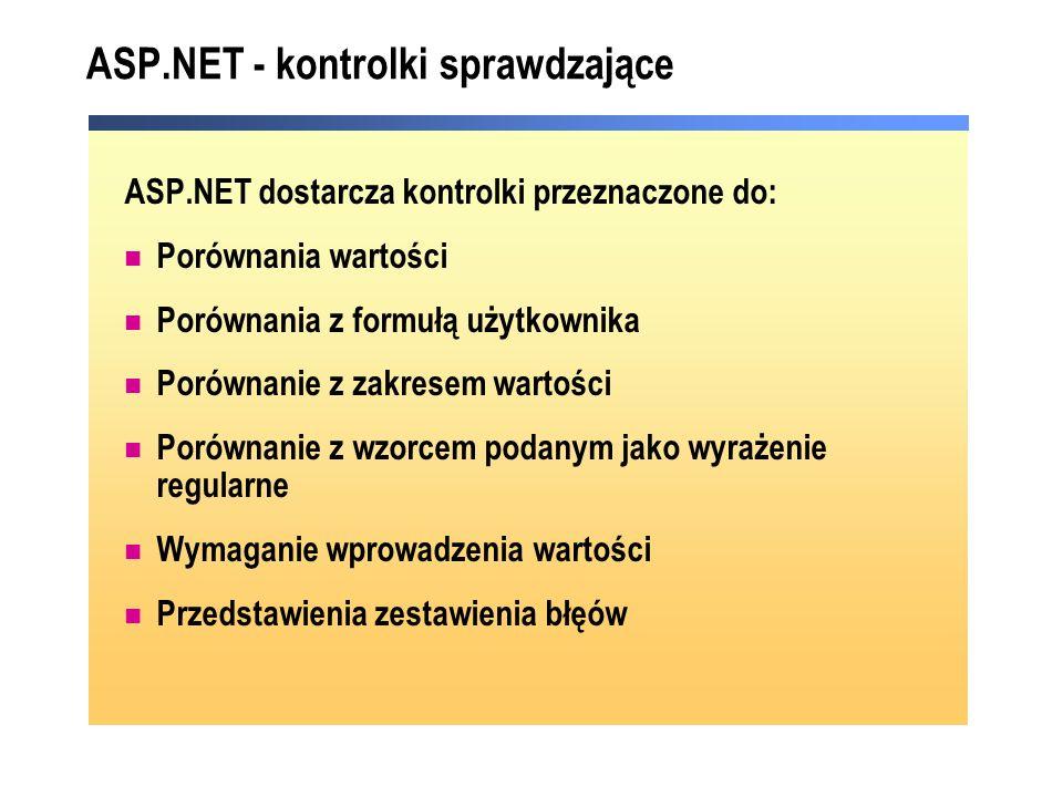 ASP.NET - kontrolki sprawdzające