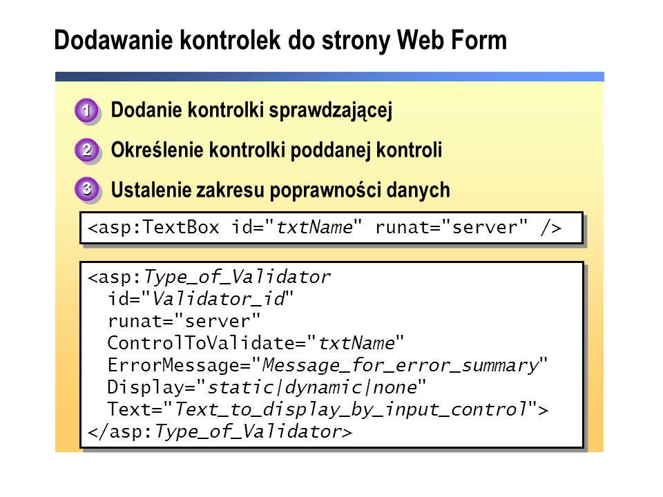 Dodawanie kontrolek do strony Web Form