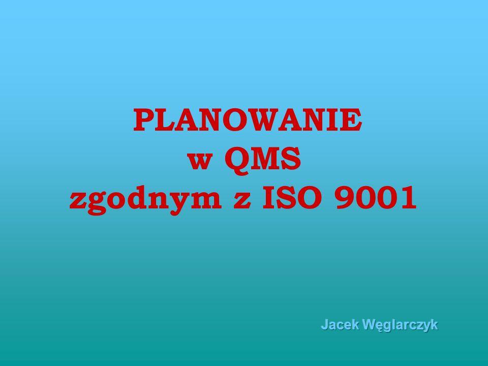 PLANOWANIE w QMS zgodnym z ISO 9001 Jacek Węglarczyk