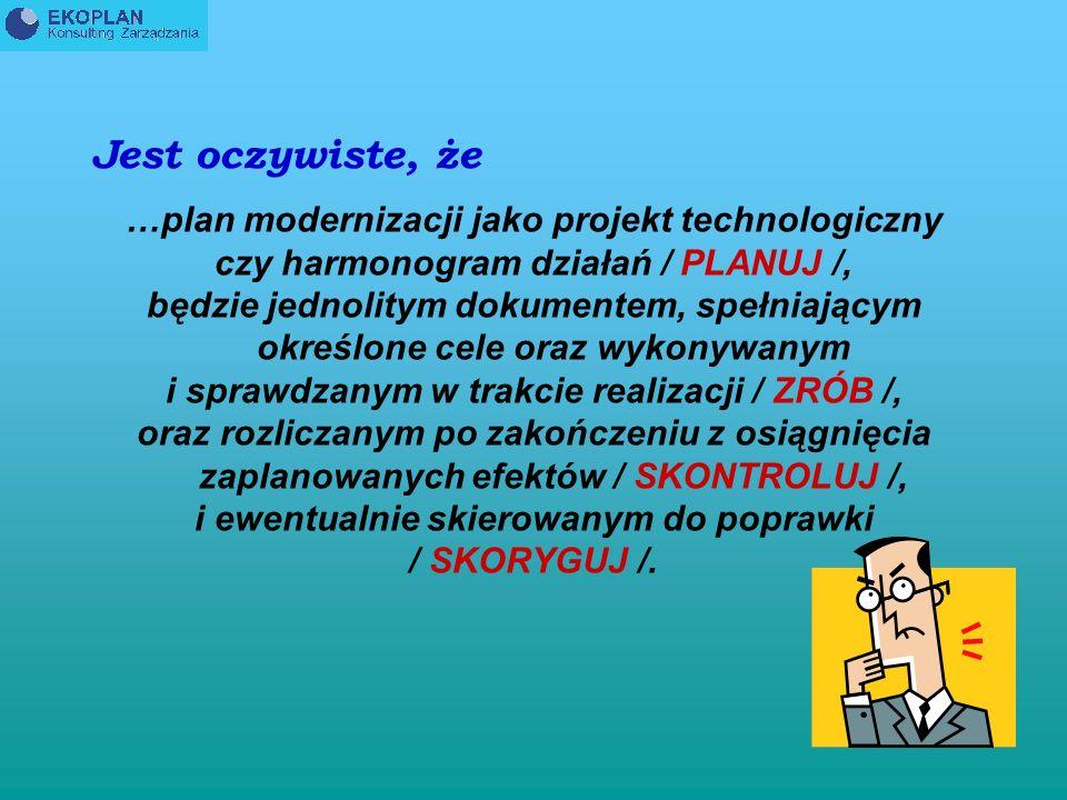 Jest oczywiste, że …plan modernizacji jako projekt technologiczny