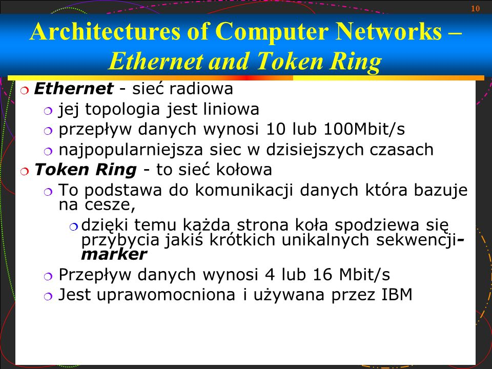 Architectures of Computer Networks – Ethernet and Token Ring