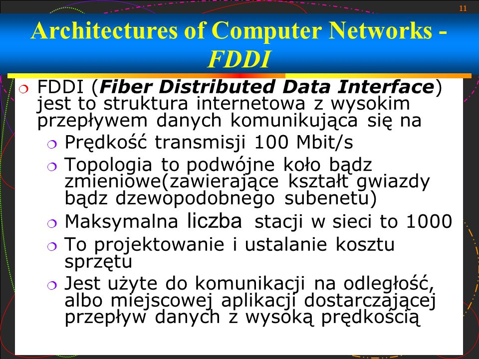 Architectures of Computer Networks - FDDI