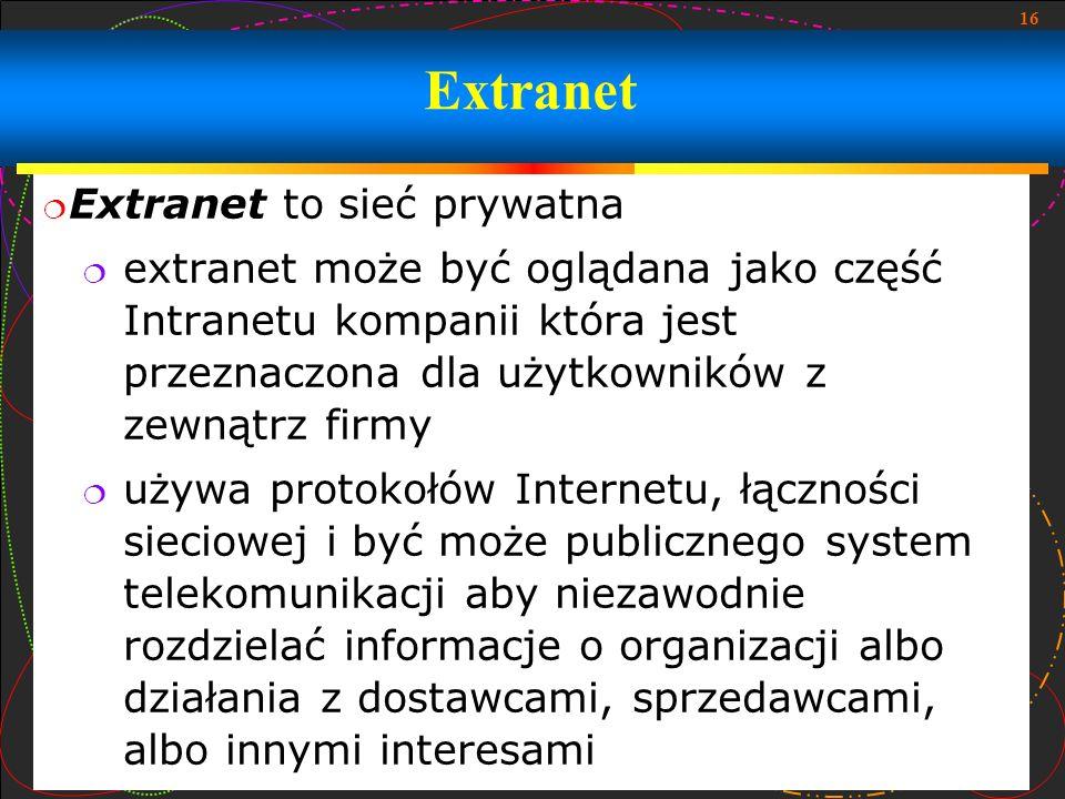 Extranet Extranet to sieć prywatna