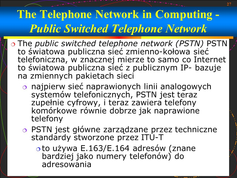 The Telephone Network in Computing - Public Switched Telephone Network
