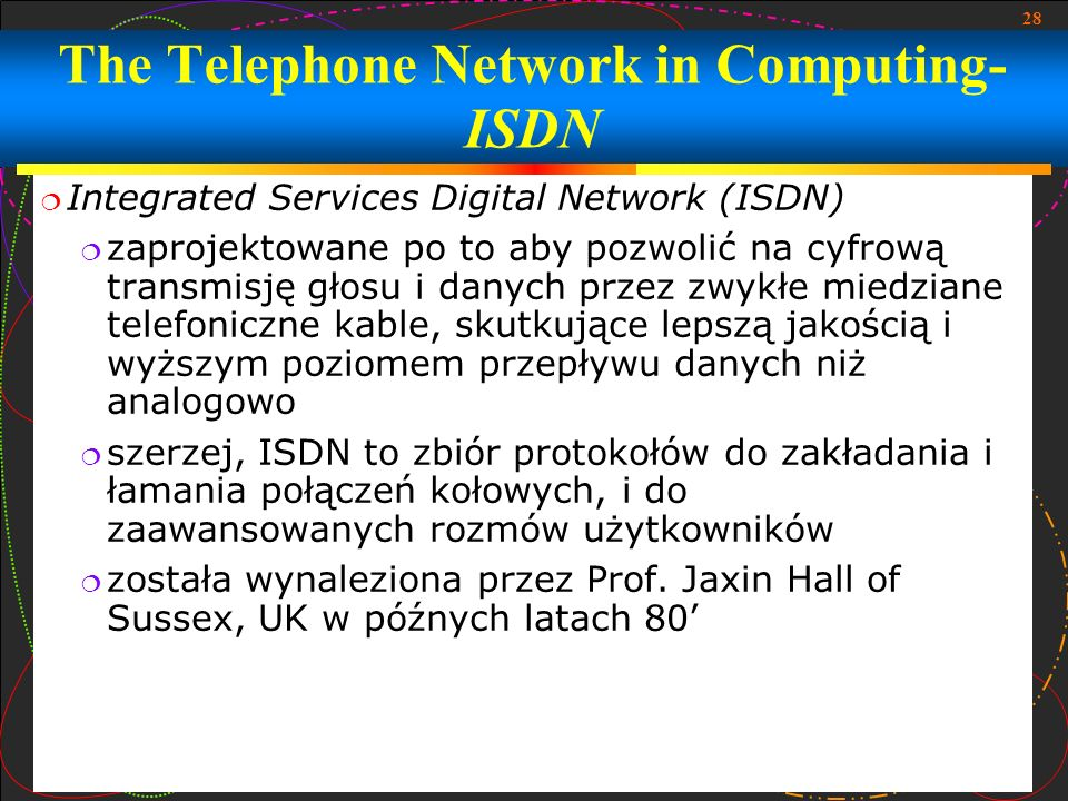 The Telephone Network in Computing- ISDN