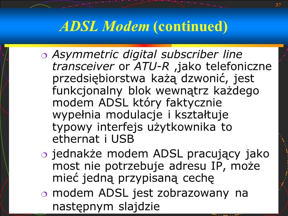 ADSL Modem (continued)