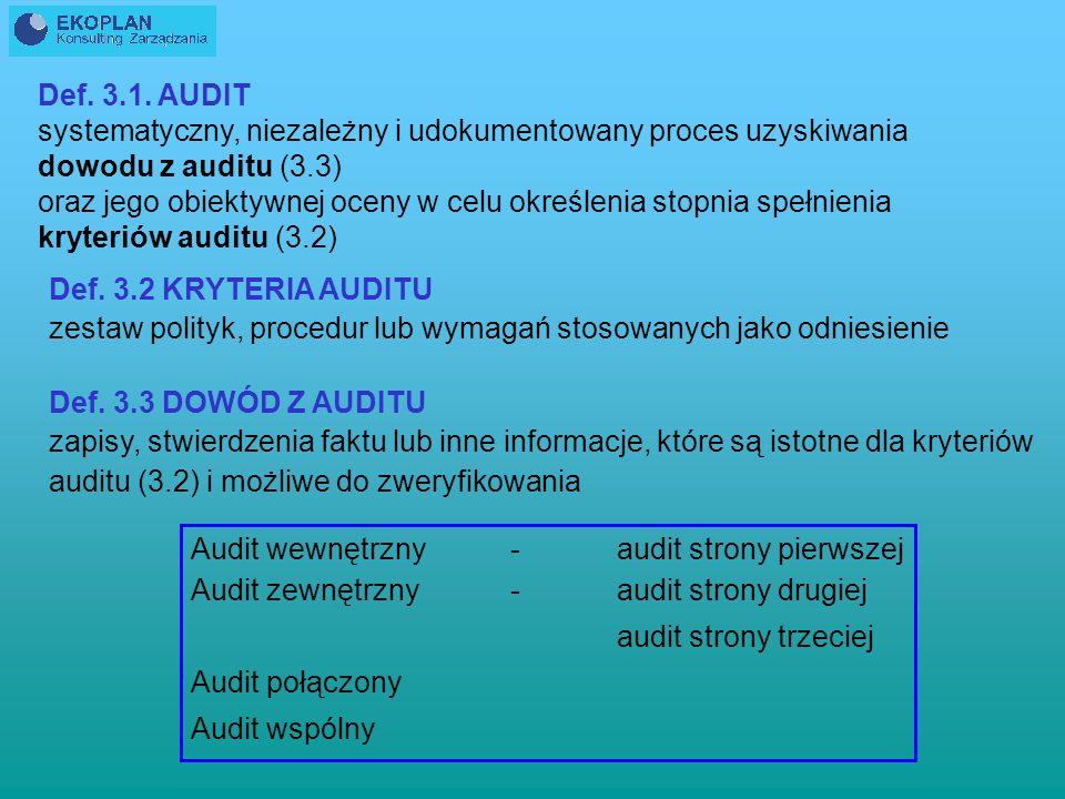 Def. 3.1. AUDIT systematyczny, niezależny i udokumentowany proces uzyskiwania. dowodu z auditu (3.3)