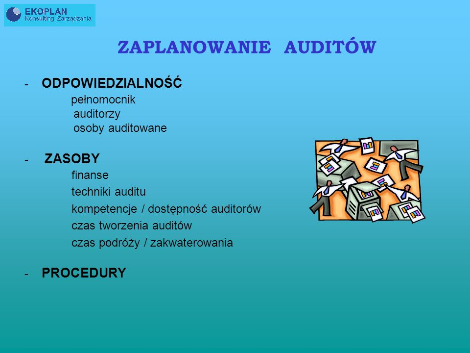 ZAPLANOWANIE AUDITÓW pełnomocnik ODPOWIEDZIALNOŚĆ auditorzy