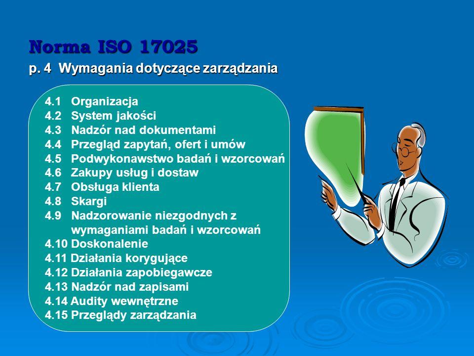 Norma ISO 17025 p. 4 Wymagania dotyczące zarządzania 4.1 Organizacja