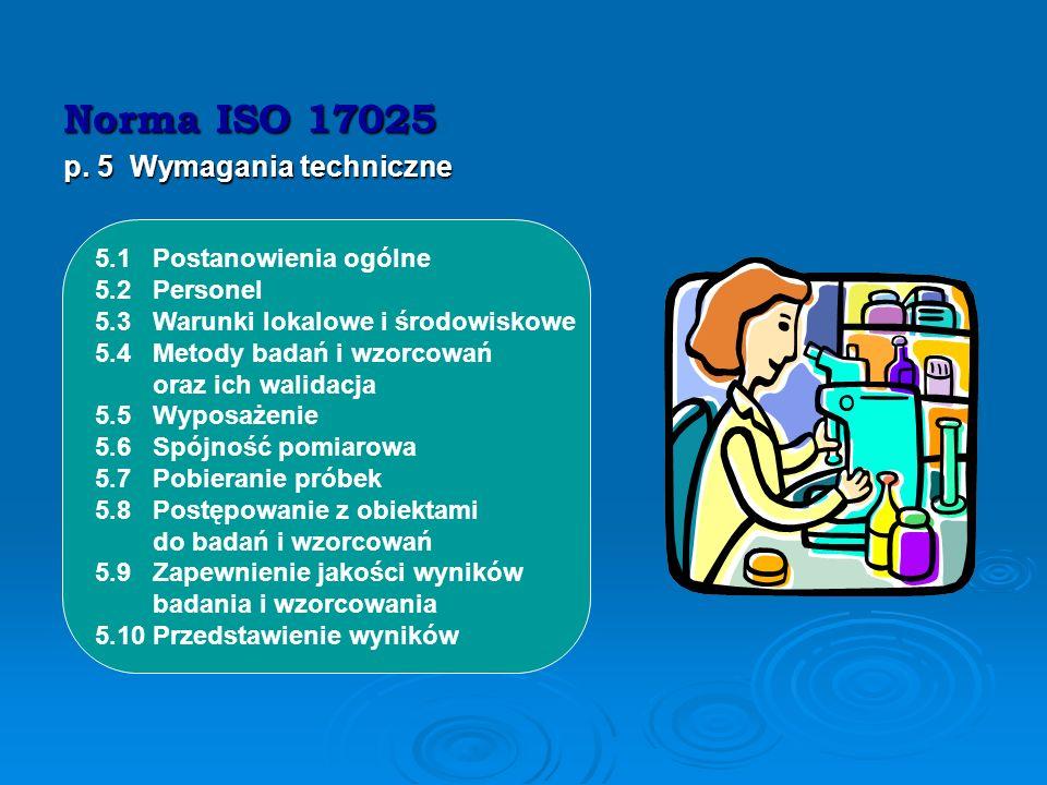 Norma ISO 17025 p. 5 Wymagania techniczne 5.1 Postanowienia ogólne