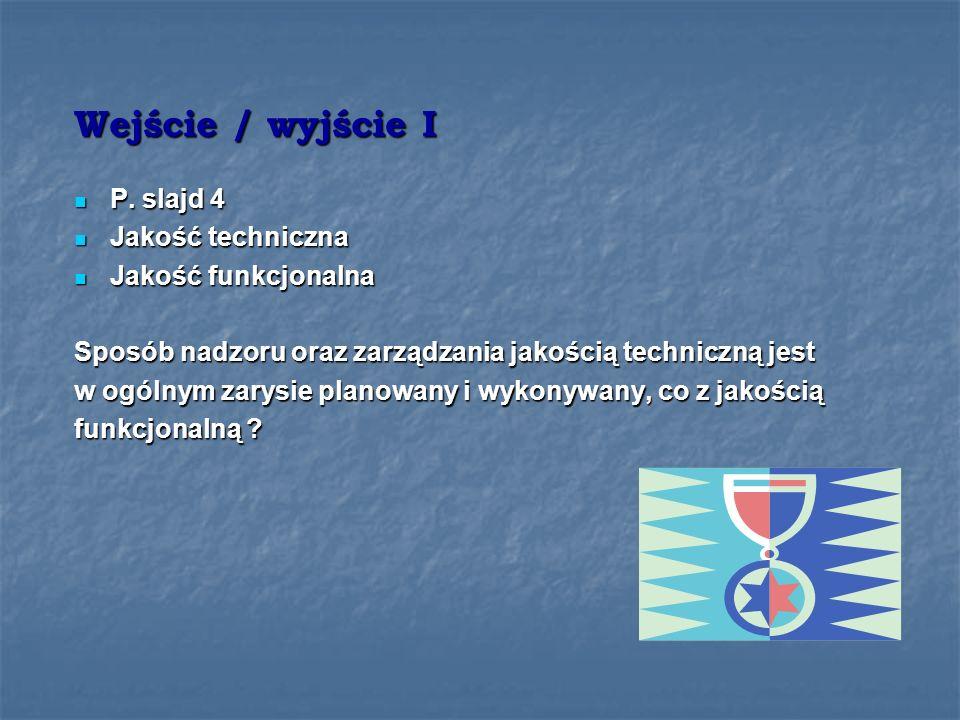 Wejście / wyjście I P. slajd 4 Jakość techniczna Jakość funkcjonalna