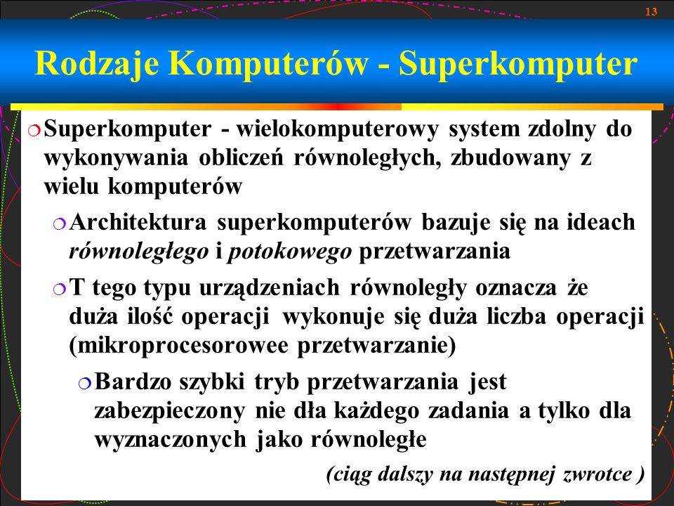 Rodzaje Komputerów - Superkomputer