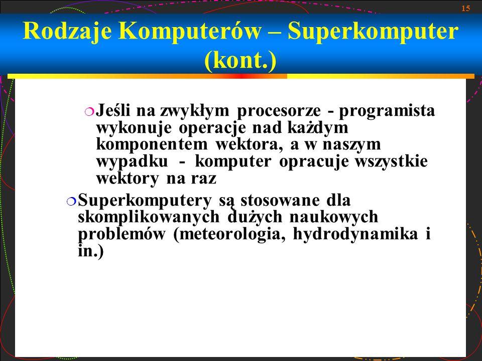 Rodzaje Komputerów – Superkomputer (kont.)