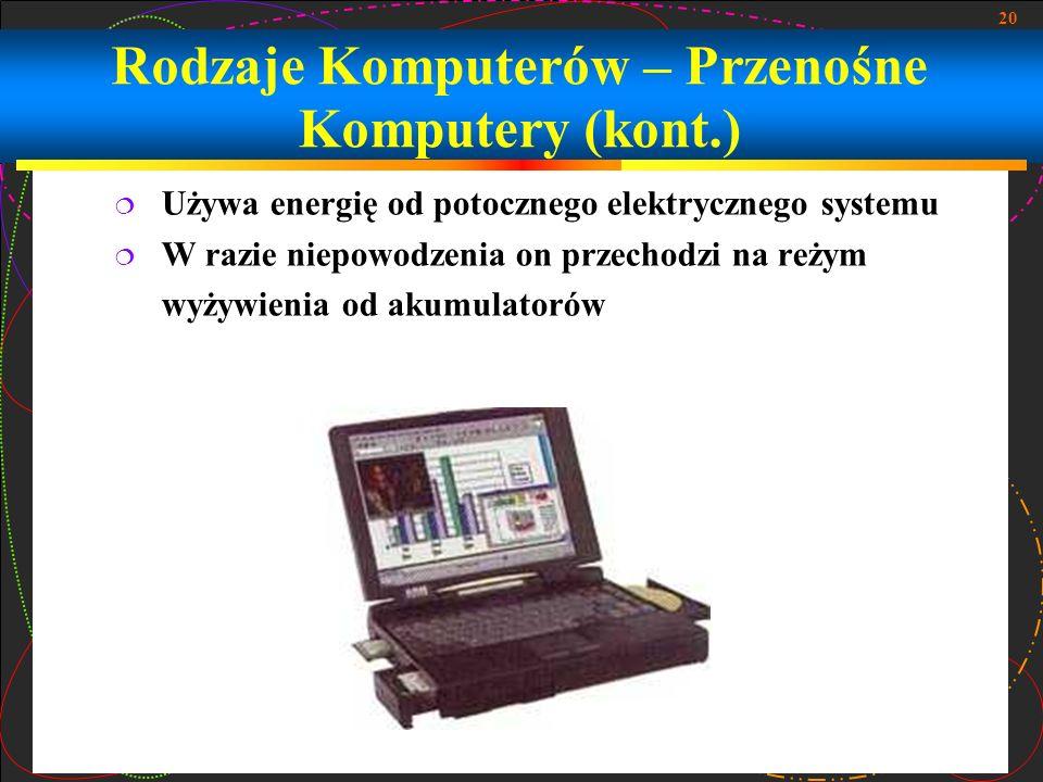 Rodzaje Komputerów – Przenośne Komputery (kont.)