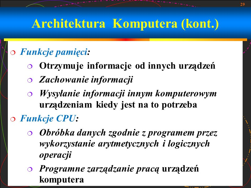 Architektura Komputera (kont.)