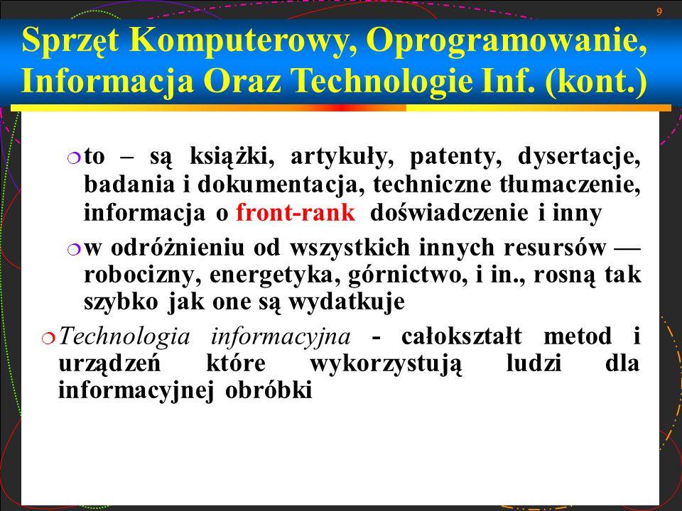 Sprzęt Komputerowy, Oprogramowanie, Informacja Oraz Technologie Inf