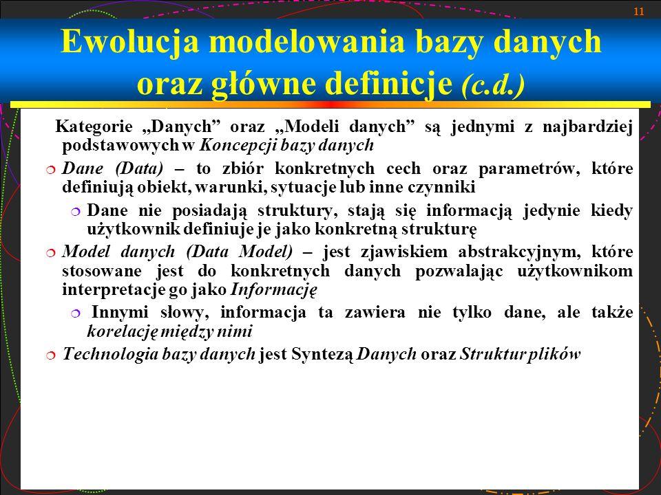 Ewolucja modelowania bazy danych oraz główne definicje (c.d.)