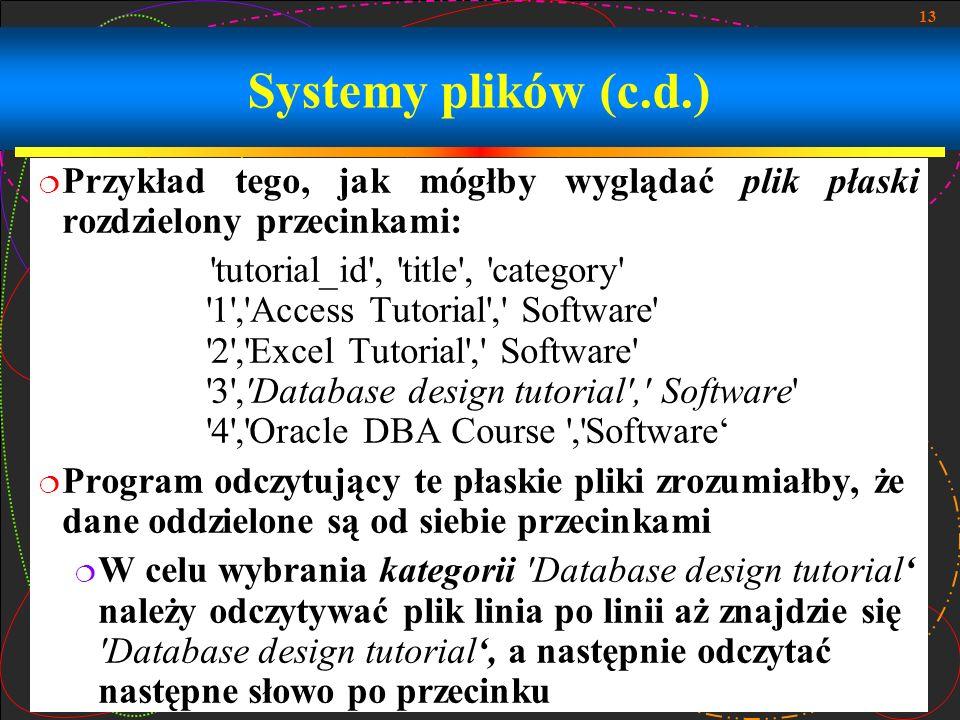 Systemy plików (c.d.) Przykład tego, jak mógłby wyglądać plik płaski rozdzielony przecinkami: