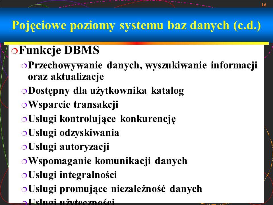 Pojęciowe poziomy systemu baz danych (c.d.)