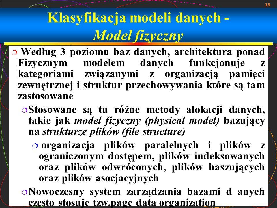 Klasyfikacja modeli danych - Model fizyczny