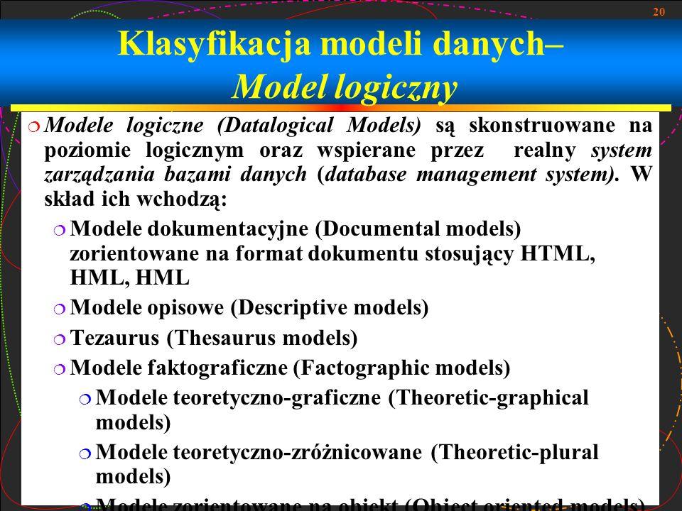 Klasyfikacja modeli danych– Model logiczny
