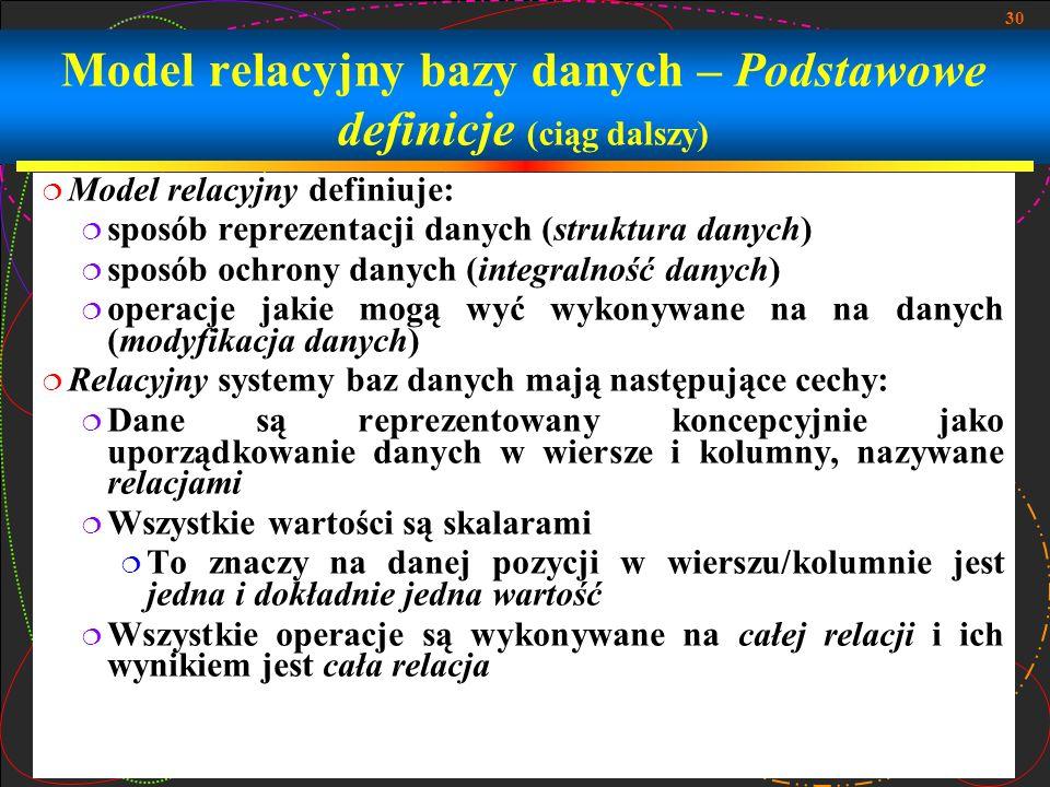 Model relacyjny bazy danych – Podstawowe definicje (ciąg dalszy)