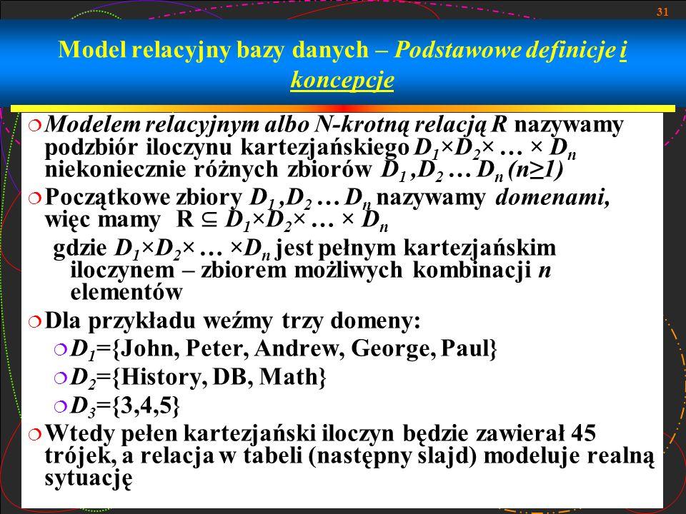 Model relacyjny bazy danych – Podstawowe definicje i koncepcje