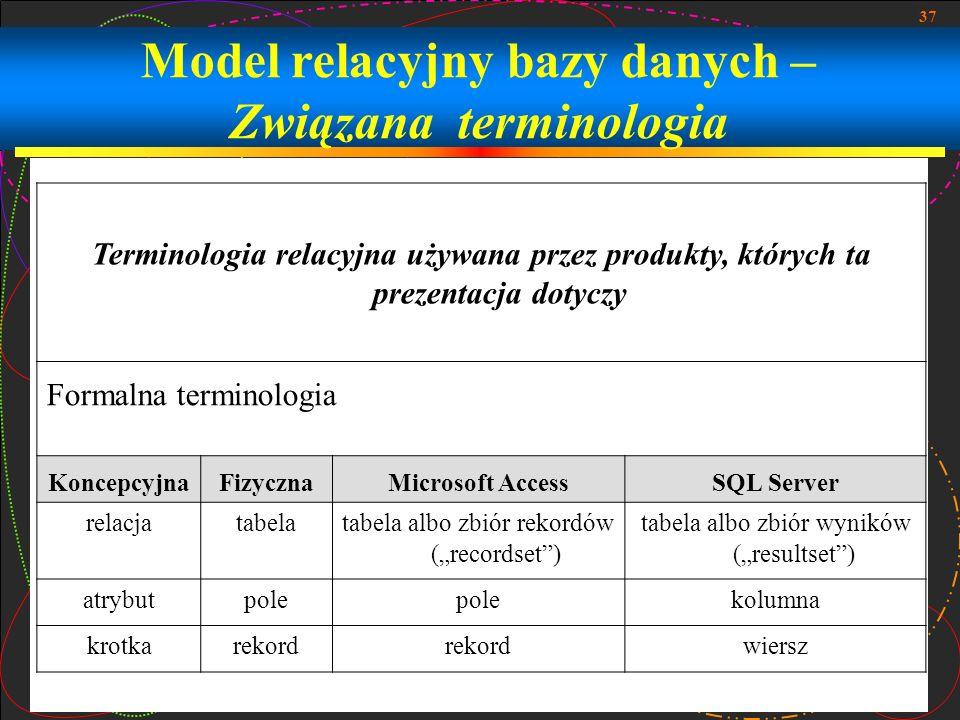 Model relacyjny bazy danych – Związana terminologia