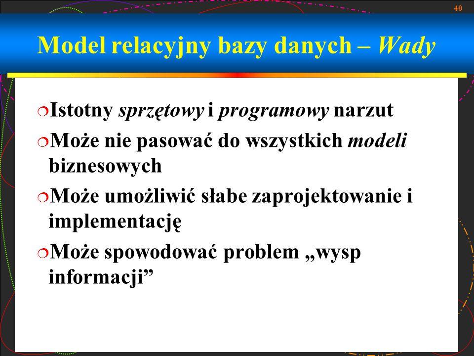 Model relacyjny bazy danych – Wady