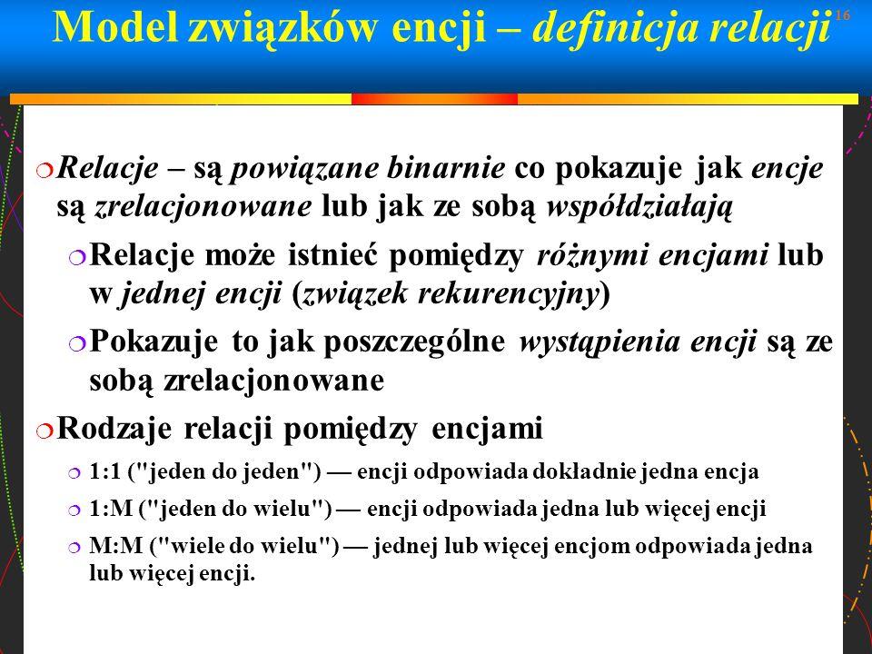 Model związków encji – definicja relacji