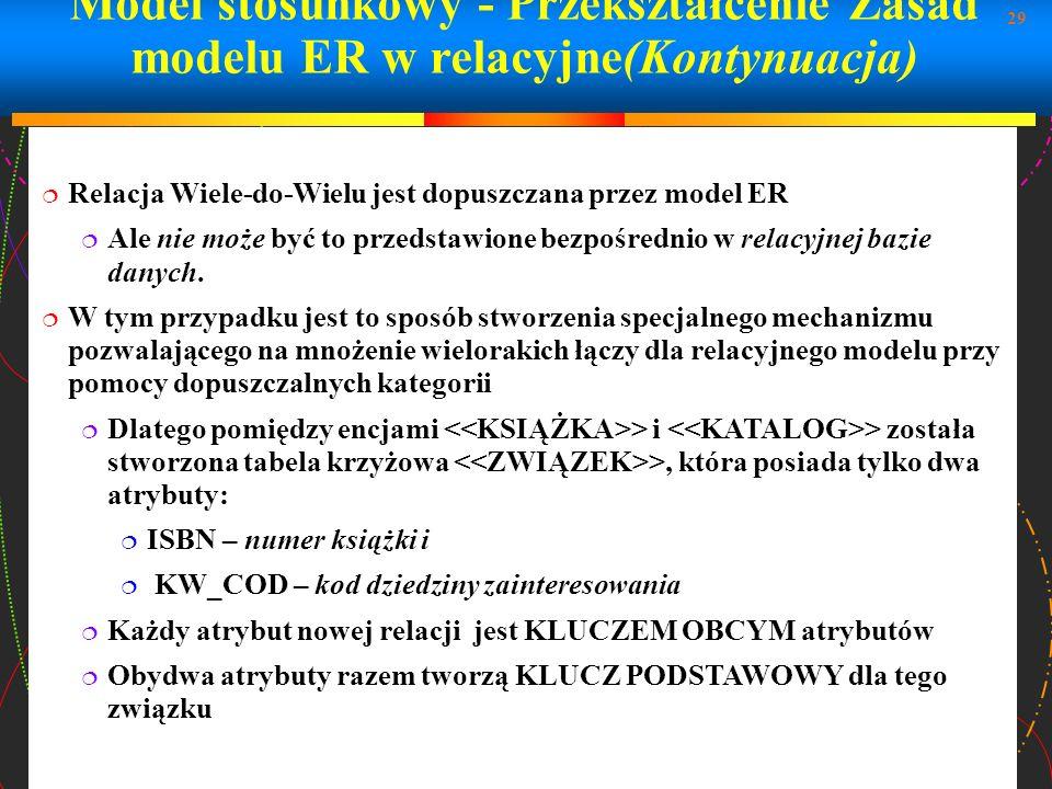 Model stosunkowy - Przekształcenie Zasad modelu ER w relacyjne(Kontynuacja)