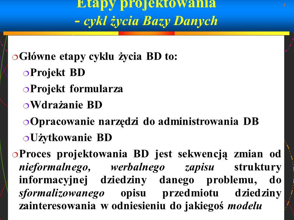 Etapy projektowania - cykl życia Bazy Danych