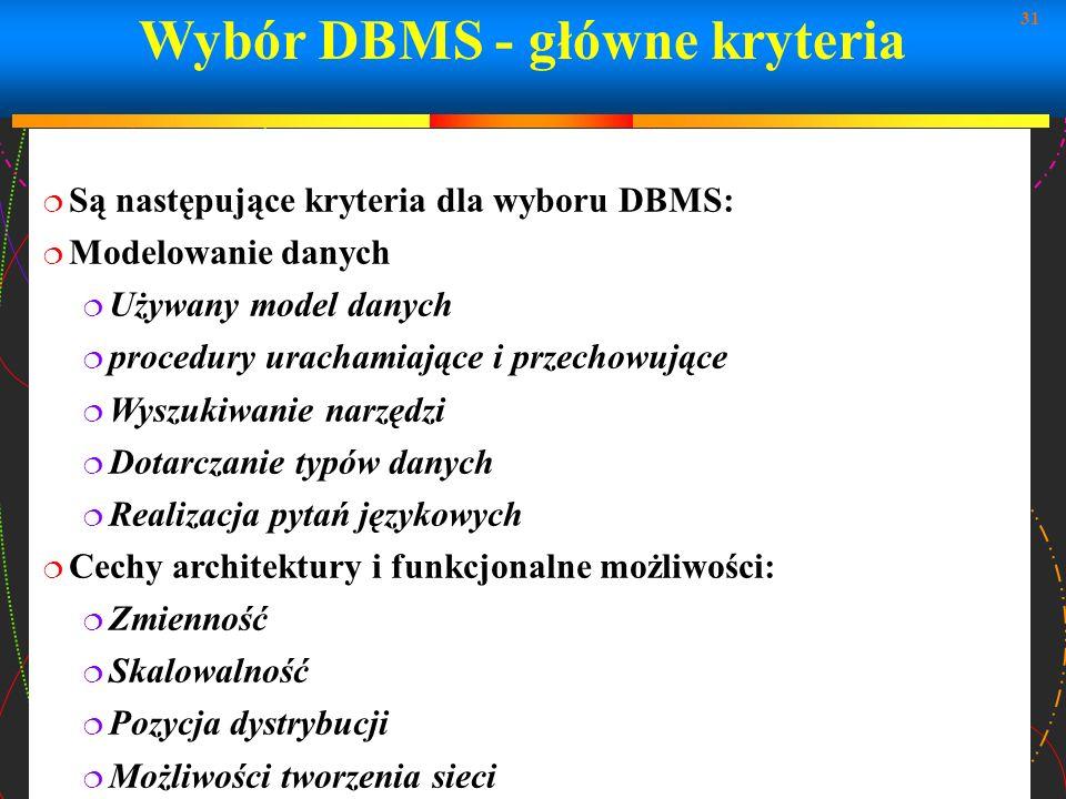 Wybór DBMS - główne kryteria